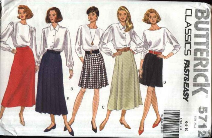 Butterick Sewing Pattern 5712 Misses Size 6-8-10 Easy Classic A-Line Pleated Long Short Skirts