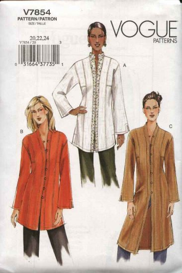 Vogue Sewing Pattern 7854 Misses Size 14-16-18 Easy Tunic Top Duster Jacket