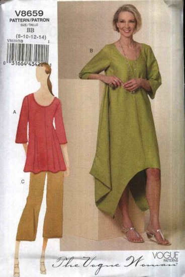 Vogue Sewing Pattern 8659 Misses Size 16-18-20-22 Easy Pullover Dress Tunic Top Cropped Pants