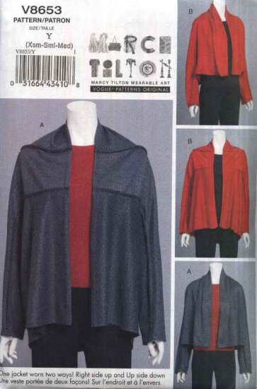 Vogue Sewing Pattern 8653 Misses Size 16-22 Easy Knit Marcy Tilton Reversible Upside Down Jacket