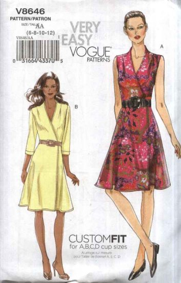 Vogue Sewing Pattern 8646 Misses Size 6-12 Easy Classic Front Wrap Dress Custom Cup Size