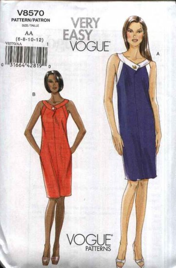 Vogue Sewing Pattern 8570 Misses Size 6-8-10-12 Easy Sleeveless Summer Straight Lined Dress