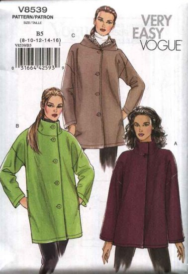 Vogue Sewing Pattern 8539 Misses Size 8-16 Easy Button Front Jacket Hood or Stand-up Collar