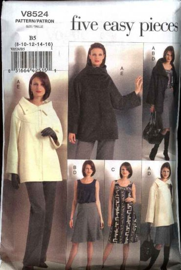 Vogue Sewing Pattern 8524 Misses Size 8-16 Easy Wardrobe Jacket Knit Top Dress Skirt Pants