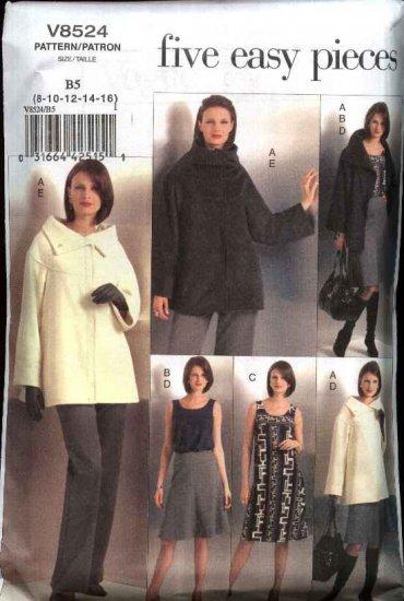 Vogue Sewing Pattern 8524 Misses Size 18-24 Easy Wardrobe Jacket Knit Top Dress Skirt Pants