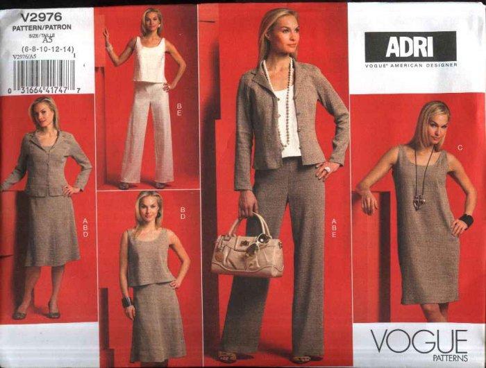 Vogue Sewing Pattern 2976 Misses Size 6-14 Easy ADRI Wardrobe Jacket Top Dress Skirt Pants