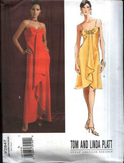 Vogue Sewing Pattern 2847 V2847 Misses Size 6-10 Tom Linda Platt Strapless Formal Gown Dress