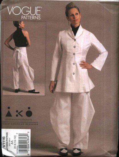 Vogue Sewing Pattern 1116 Misses Size 6-12 Andrea Katz Objects Jacket Pants Pantsuit