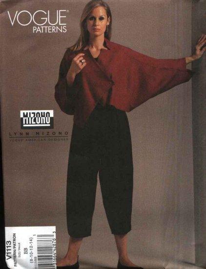 Vogue Sewing Pattern 1113 Misses Size 8-14 Lynn Mizono Easy Asymmetrical Jacket Pants