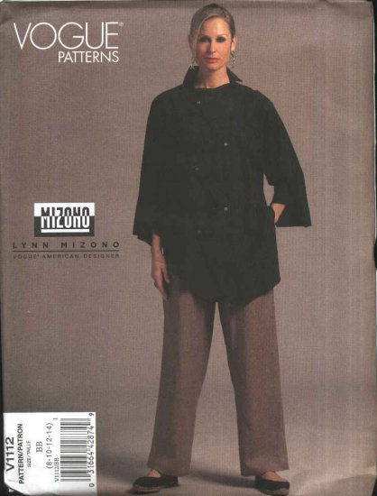Vogue Sewing Pattern 1112 Misses Size 8-14 Lynn Mizono Easy Button Front Shirt  Long Pants