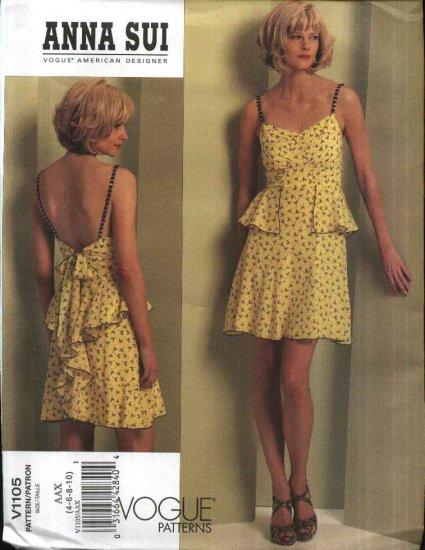Vogue Sewing Pattern 1105 Misses Size 12-18 Anna Sui Summer Dress Sundress Ruffles Flounces