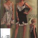 Vogue Sewing Pattern 1104 Misses Size 6-12 Anna Sui Sleeveless Summer Dress Ruffles Flounces