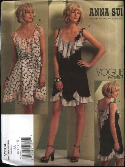 Vogue Sewing Pattern 1104 Misses Size 14-20 Anna Sui Sleeveless Summer Dress Ruffles Flounces