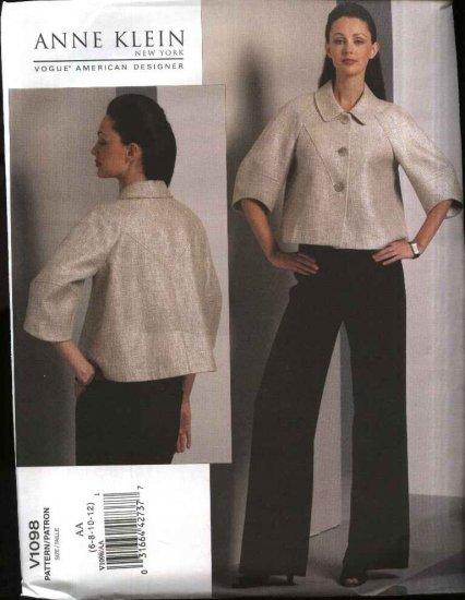 Vogue Sewing Pattern 1098 Misses Size 6-12 Anne Klein Lined Jacket Pants Pantsuit