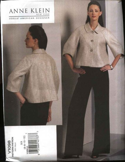 Vogue Sewing Pattern 1098 Misses Size 14-20 Anne Klein Lined Jacket Pants Pantsuit