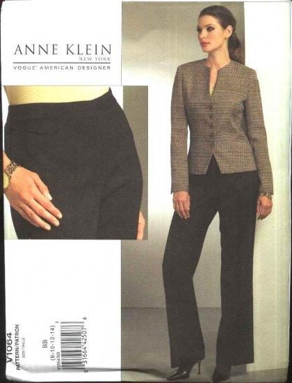 Vogue Sewing Pattern 1064 Misses Size 8-14 Anne Klein Button Front Jacket Pants Pantsuit