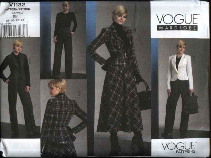 Vogue Sewing Pattern 1132 Misses Size 16-22 Easy Wardrobe Peplum Jacket Vest Flared Skirt Pants