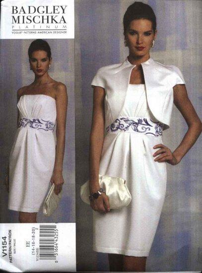 Vogue Sewing Pattern 1154 V1154 Misses Size 14-20 Badgley Mischka Lined Jacket Strapless Dress