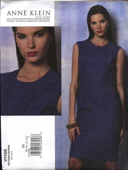 Vogue Sewing Pattern 1156 Misses Size 16-22 Easy Anne Klein Straight Sleeveless Lined Dress