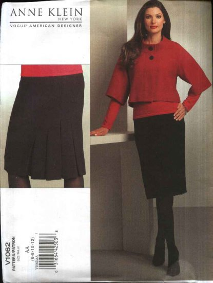 Vogue Sewing Pattern 1062 Misses Size 6-12 Anne Klein Cropped Raglan Sleeve Jacket Skirt