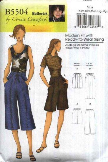Butterick Sewing Pattern 5504 Misses Size 3-16 Shorts Capri Cropped Drawstring Pants