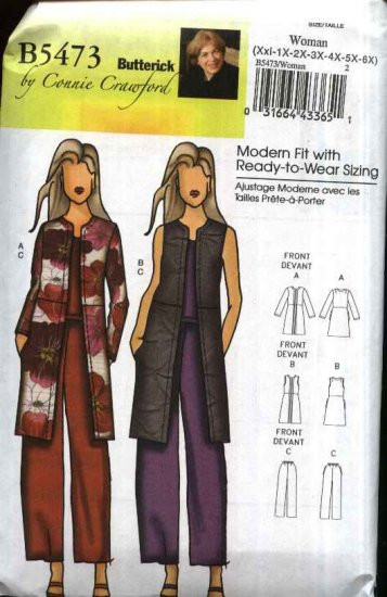 Butterick Sewing Pattern 5473 Misses Size 3-16 Easy Slim-fitting Jacket Vest Long Pants