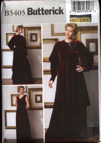Butterick Sewing Pattern 5405 Misses Size 6-12 Historical Costume Long Sleeveless Dress Jacket