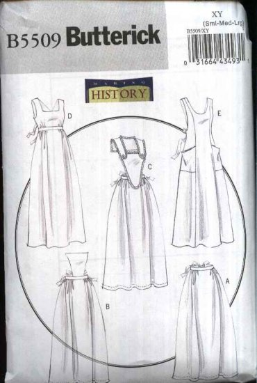 Butterick Sewing Pattern 5509 Misses Size 8-18 Historical Long Full Half Aprons Pinafores