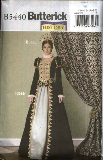 Butterick Sewing Pattern 5440 Misses Size 14-20 Historical Long Queen Two-Piece Dress Costume