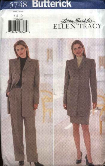 Butterick Sewing Pattern 5748 Misses Size 6-8-10 Button Front Jacket Straight Skirt Pants Suit