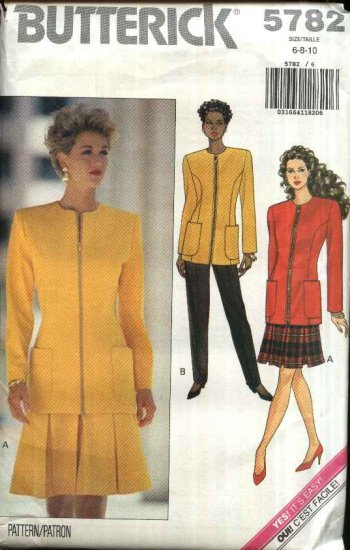 Butterick Sewing Pattern 5782 Misses Size 6-8-10 Easy Zipper Front jacket Pleated Skirt Pants