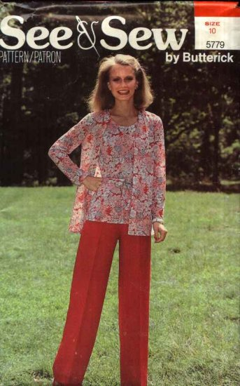 Butterick Sewing Pattern 5779 B5779 Misses Size 10  Easy Sleeveless Top Long Sleeved Jacket Pants