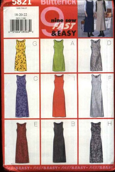 Butterick Sewing Pattern 5821 Misses Size 18-20-22 Easy Fitted A-Line Jumper Neck Length Variations