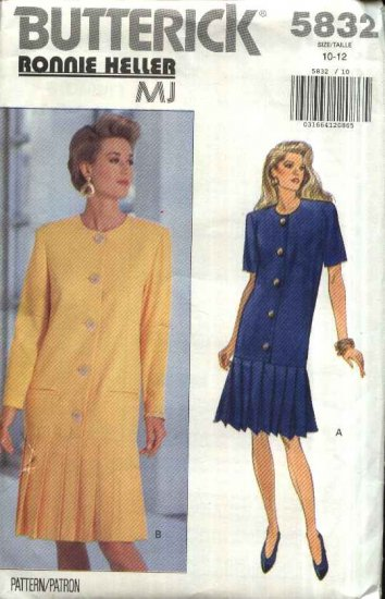 Butterick Sewing Pattern 5832 Misses Size 10-12 Easy Button Front Pleated Skirt Dress