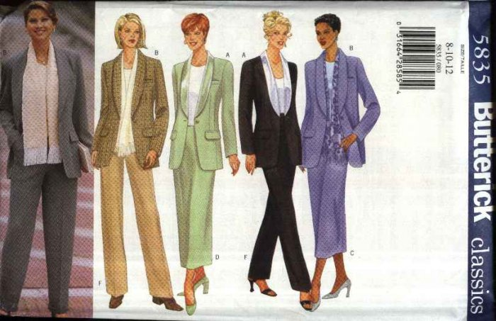 Butterick Sewing Pattern 5835 B5835 Misses Size 8-12 Shawl Collar Jacket Straight Skirt Pants