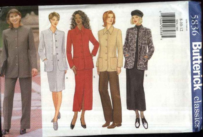 Butterick Sewing Pattern 5836 Misses Size 8-12 Classic Button Front Jacket Straight Skirts Pants