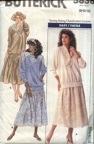 Retro Butterick Sewing Pattern 5838 Misses Size 8-10-12 Easy Pullover Raglan Sleeve Top Dirndl Skirt