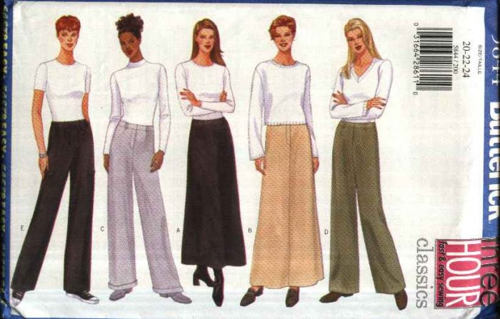 Butterick Sewing Pattern 5844 B5844 Misses Size 20-24 Easy Classic Long Pants A-Line Skirts