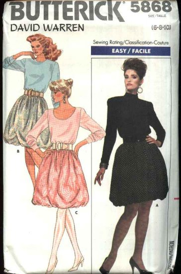 Retro Butterick Sewing Pattern 5868 Misses Size 6-8-10 Easy Knit Long Sleeve Bubble Skirt Dress