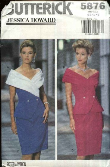 Butterick Sewing Pattern 5876 Misses Size 6-12 Formal Off-the-Shoulder Jacket Straight Skirt