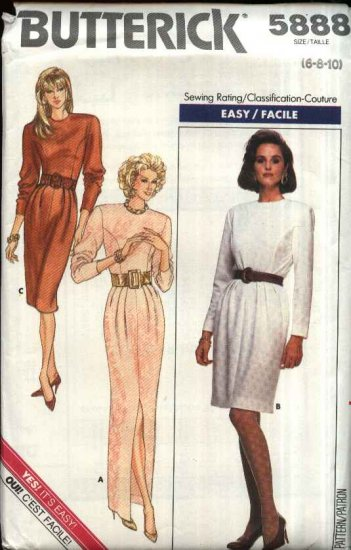 Butterick Sewing Pattern 5888 Misses Size 6-8-10 Easy Long Sleeve Princess Seam Dress 2 Lengths