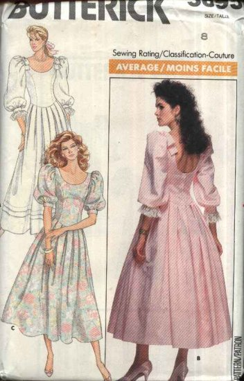 Butterick Sewing Pattern 5895 Misses Size 10 Formal Party Wedding Dress Full Skirt Puffy Sleeves