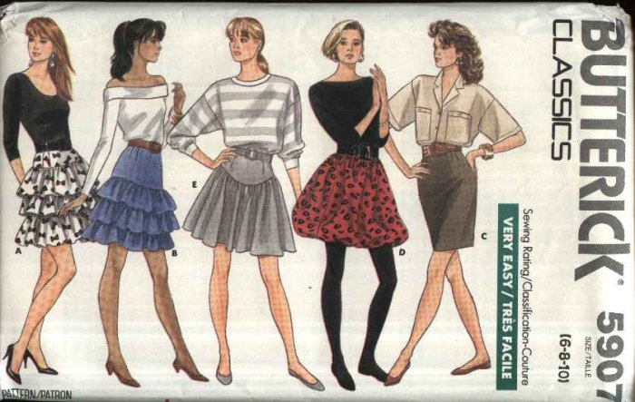 Butterick Sewing Pattern 5907 Misses Size 6-8-10 Easy Mini-Skirt Ruffled Yoked Bubble Straight