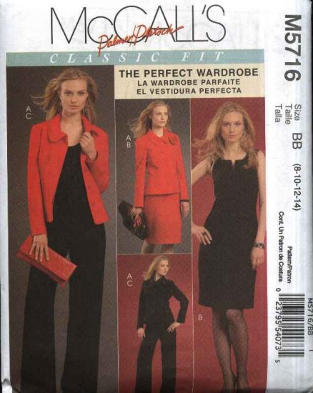 McCall�s Sewing Pattern 5716 Misses 8-14 Classic Wardrobe Lined jacket Straight Dress Long Pants
