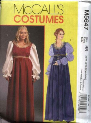Mccalls Sewing Pattern 5647 Womens Plus Size 18w 24w Renaissance