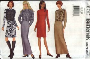 Butterick Sewing Pattern 6762 Misses Size 18-20-22 Easy Jacket Vest Knit Short Long Dress