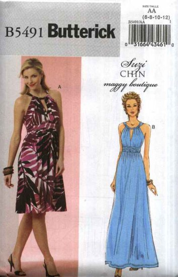 Butterick Sewing Pattern 5491 Misses Size 14-20 Easy Suzi Chin Formal Long Short Knit Dress