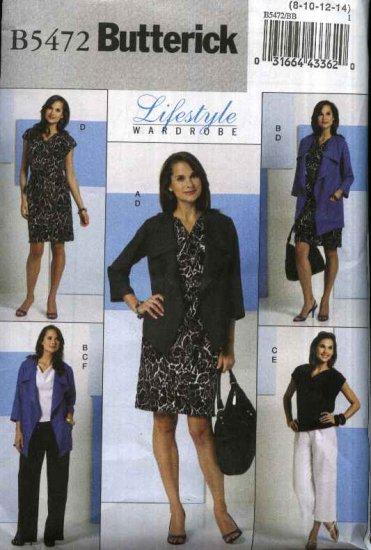 Butterick Sewing Pattern 5472 Misses Size 16-24 Easy Wardrobe Loose Jacket Dress Top Pants Sash
