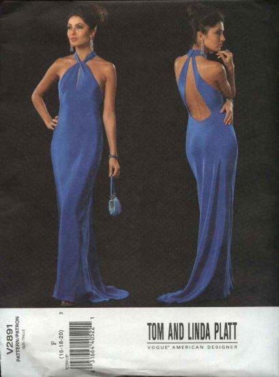 Vogue Sewing Pattern 2891 Misses Size 16-18-20 Tom Linda Platt Easy Formal Dress Evening Gown