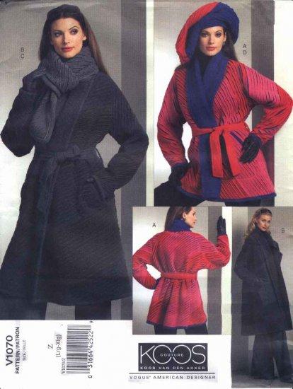 Vogue Sewing Pattern 1070 Misses Size 4-14 Koos Van Den Akker Reversible Coat Scarf Hat Belt